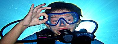 Dykkerudstyr, svømmefødder og masker til børn